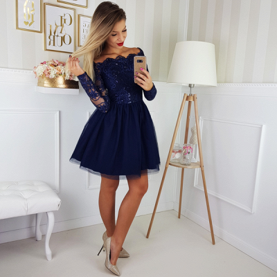 Elegant Long Sleeve Navy Homecoming Dresses   Lace Short Homecoming Dresses On Sale BC0062_2