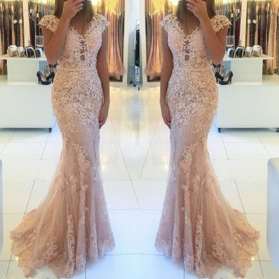 Charming V-Neck Cap Sleeves Lace Evening Gowns | Long Mermaid Tulle Prom Dress BC0397_3
