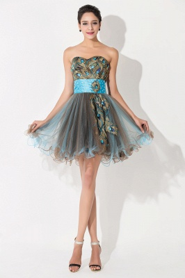 Modern Sweetheart Sleeveless Tulle Homecoming Dress With Peacock Beadings Crystals_1