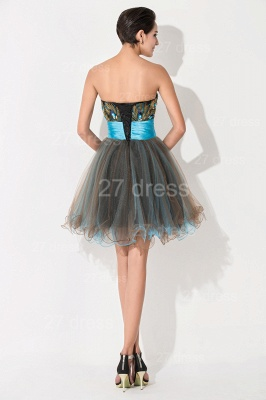 Modern Sweetheart Sleeveless Tulle Homecoming Dress With Peacock Beadings Crystals_5