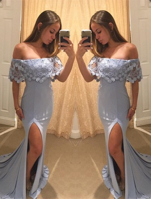 Elegant Off the Shoulder Ruffle Evening Dress Lace Mermaid Long With Split_1