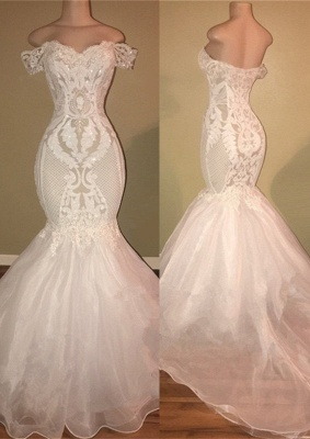 Gorgeous White Off-the-Shoulder 2020 Prom Dress | Mermaid Lace Long Evening Gowns_1