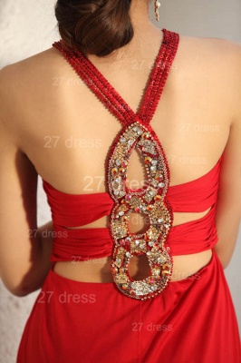 Sexy Red V-Neck Prom Gowns 2020 Ruffles Sweep Train Evening Dresses with Beadings_3
