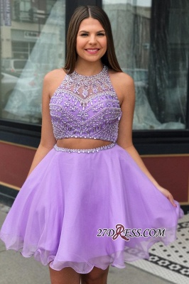 Short Beadings Purple Sexy A-line Homecoming Dresses_2