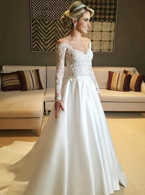 Elegant Long Sleeve Wedding Dresses | 2020 Lace Long Bridal Gowns_1
