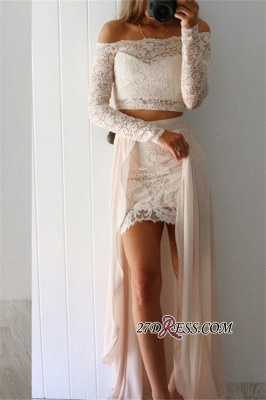Two-Pieces Off-the-Shoulder Sexy Long-Sleeves Lace Prom Dresses BA6774_2