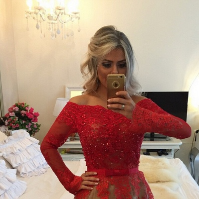 Modern Off-the-shoulder Red Prom Dress 2020 Lace Long Sleeve BA8928_3