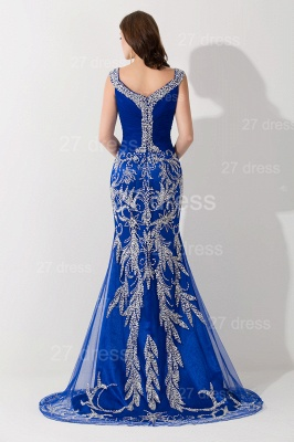 Modern Lace Appliques Mermaid Evening Dress V-neck Sweep Train_3