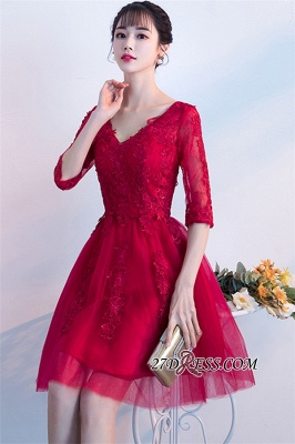 Short Appliques Lace Half-Sleeves Cheap See-Through V-neck Homecoming Dresses_3