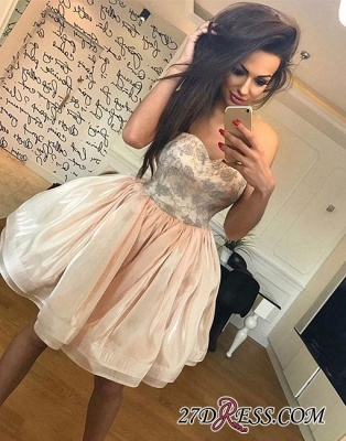 Hot Champagne Strapless A-line Cute Zipper Short Homecoming Dress_5