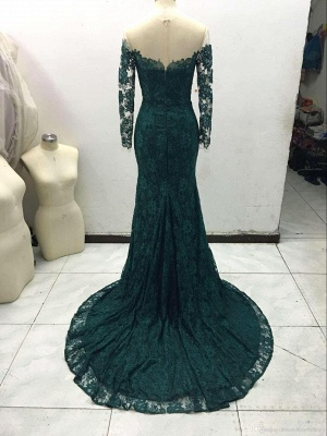 Gorgeous Off-the-Shoulder Long Sleeve Mermaid 2020 Prom Dress Lace Sweep Train_4