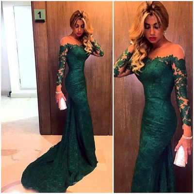 Gorgeous Off-the-Shoulder Long Sleeve Mermaid 2020 Prom Dress Lace Sweep Train_3