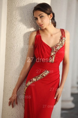 Sexy Red V-Neck Prom Gowns 2020 Ruffles Sweep Train Evening Dresses with Beadings_6