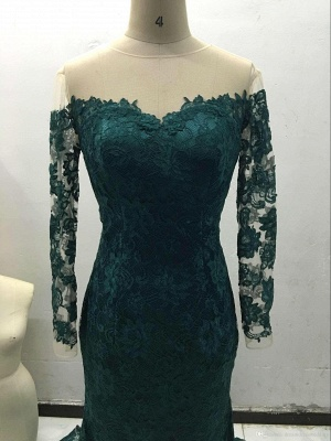 Gorgeous Off-the-Shoulder Long Sleeve Mermaid 2020 Prom Dress Lace Sweep Train_5