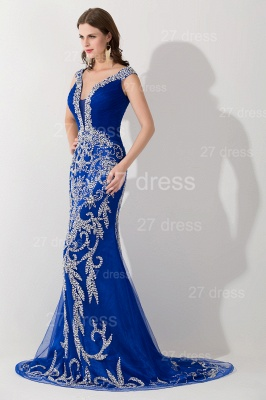Modern Lace Appliques Mermaid Evening Dress V-neck Sweep Train_2