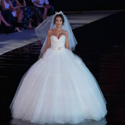 Sexy V-neck Tulle Sequins Wedding Dress Ball Gown Bowknot_3