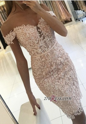 Buttons Lace Off-the-Shoulder Sexy Short Tight Homecoming Dress BA6358_3