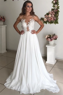 Strapless Sheer Tulle  Chiffon Wedding Dress Appliques A-line Bridal Gowns_1