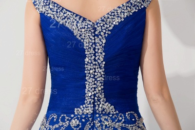 Modern Lace Appliques Mermaid Evening Dress V-neck Sweep Train_4