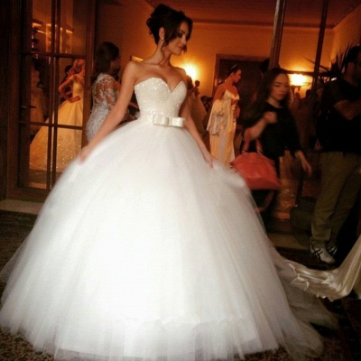 Sexy V-neck Tulle Sequins Wedding Dress Ball Gown Bowknot_2