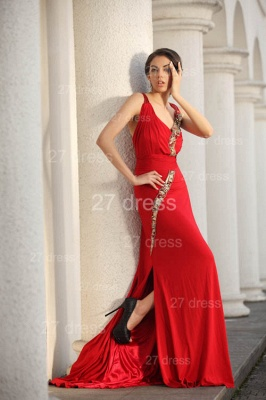 Sexy Red V-Neck Prom Gowns 2020 Ruffles Sweep Train Evening Dresses with Beadings_5