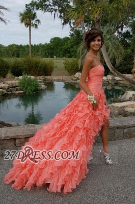 Modern Sweetheart Sleeveless Hi-Lo Prom Dress Beadings Lace-up Ruffles Evening Gown_2