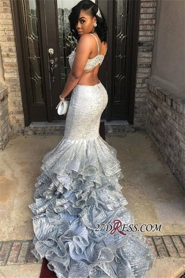 Fashion Two Pieces Mermaid Prom Dresses | Spaghetti Straps Ruffles Evening Dresses BK0 BC1253_3
