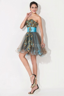 Modern Sweetheart Sleeveless Tulle Homecoming Dress With Peacock Beadings Crystals_4