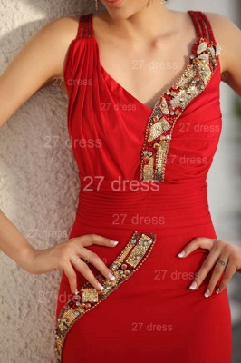 Sexy Red V-Neck Prom Gowns 2020 Ruffles Sweep Train Evening Dresses with Beadings_2
