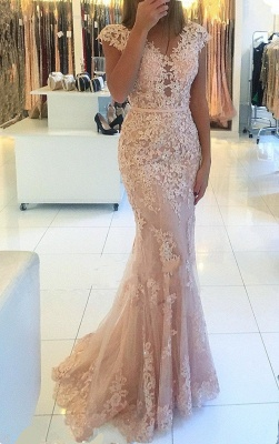 Charming V-Neck Cap Sleeves Lace Evening Gowns | Long Mermaid Tulle Prom Dress BC0397_2