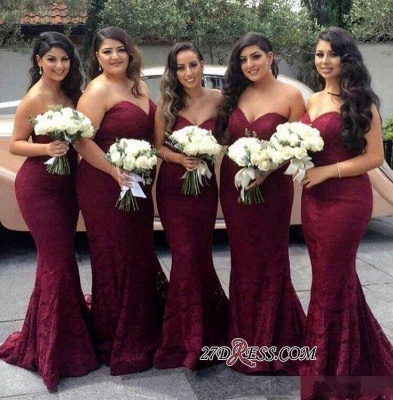 Lace Mermaid Burgundy Sweetheart-Neck Long Bridesmaid Dress LY194_1