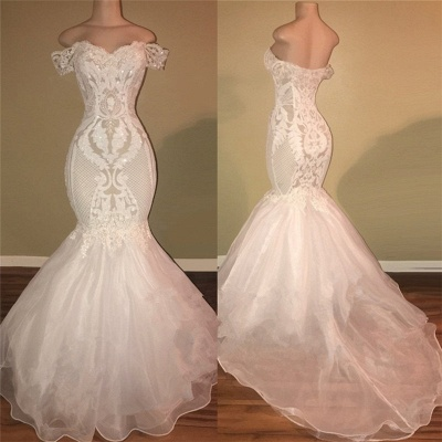 Gorgeous White Off-the-Shoulder 2020 Prom Dress | Mermaid Lace Long Evening Gowns_2