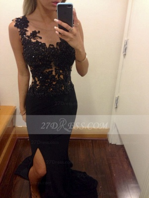 Appliques Train Prom Dresses Evening Gowns Black Scoop Sleeveless Sequins Mermaid Side Slit Sweep_1