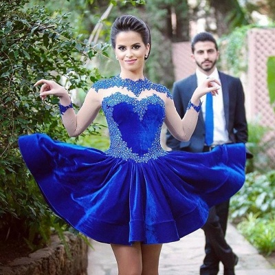Delicate Long Sleeve Royal Blue Short Homecoming Dress Appliques_2