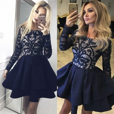 Gorgeous Long Sleeve Homecoming Dresses | 2020 Layers Lace Homecoming Dresses_5