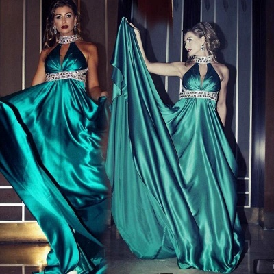 Glamorous High Neck Sleeveless Prom Dress With Crystals_1