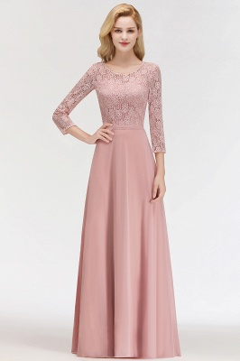 Newest Lace Pink 3/4-length Sleeve Bridesmaid Dress | 2020 Floor-length Dress_3