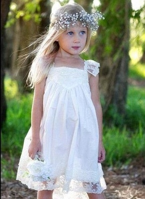 Back Cute Flower Crisscross Capped-Sleeves Girls Dresses_4