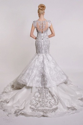 Luxurious V-Neck 2020 Wedding Dress Mermaid Crystals Lace_3
