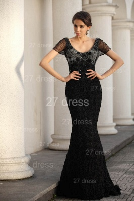 Black Scoop Lace Evening Dresses 2020 Short Sleeve Beadings Mermaid Prom Gowns_2