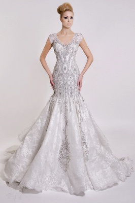 Luxurious V-Neck 2020 Wedding Dress Mermaid Crystals Lace_1