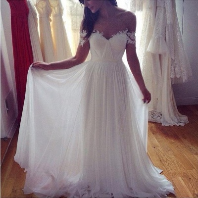 Simple But Elegant Off-the-shoulder Beach Wedding Dresses 2020 Floor Length With Appliques_3