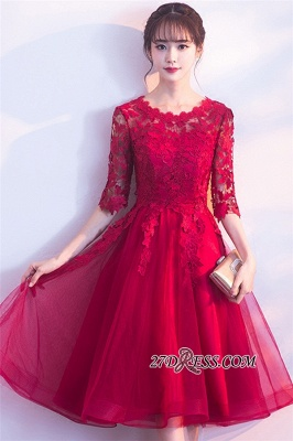Lace Appliques Knee-Length Half-Sleeves Cheap Elegant Homecoming Dresses_3