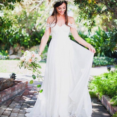 Simple But Elegant Off-the-shoulder Beach Wedding Dresses 2020 Floor Length With Appliques_6