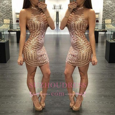 Sequins Halter-Neck Tight Sheath Short Homecoming Dresses_1