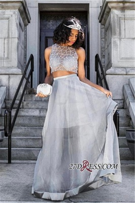 Two pieces prom dress, 2020 silver evening gowns_3