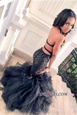 Mermaid Sexy Lace Ruffles Tulle Black Backless Prom Dress BK0_2
