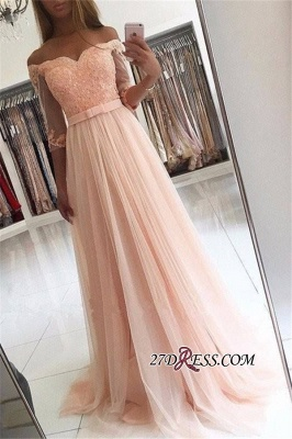 Off-the-shoulder Tulle Lace A-line Glamorous Half-Sleeves Prom Dresses_2