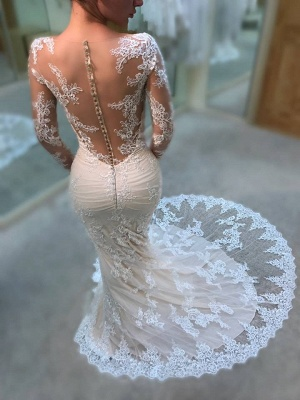 Gorgeous Crew Long Sleeves Mermaid Wedding Dress | Lace Appliques Covered Button Zipper Bridal Gowns_3