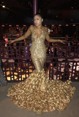 Sexy gold mermaid prom dress, sequins evening party gowns BK0_3